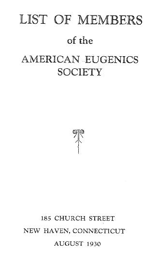 Cover page of 1930 American Eugenics Society membership list
