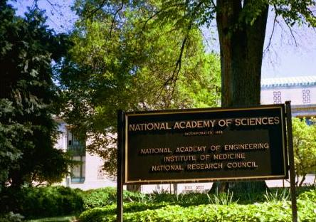 Sign lists the various national academies