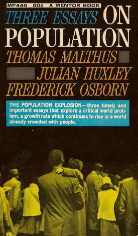 Book cover of <em>Three Essays on Population</em> (1960), including one by Frederick Osborn