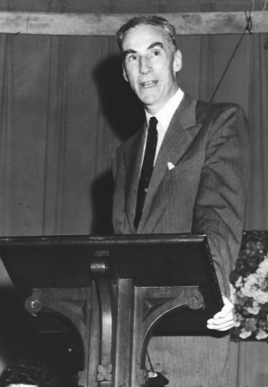 Frederick Osborn, photographed as he addressed an audience