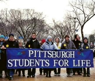 Pittsburgh Students for Life with their blue banner