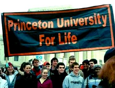 Princeton University students and banner at the March for Life