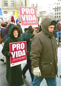 Demonstrators with Pro Vida signs