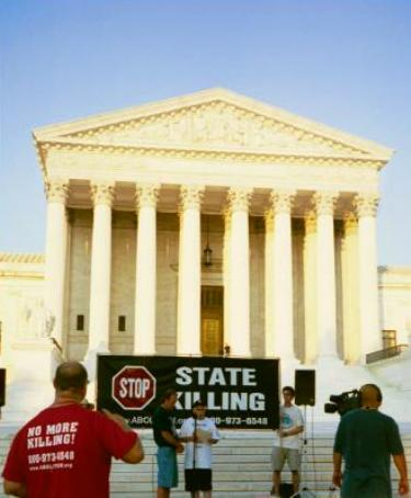 Banner at Supreme Court: 'Stop State Killing'