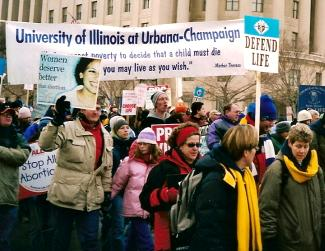 University of Illinois at Urbana-Champaign students and banner at the March for Life