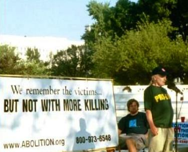 Banner at anti-death penalty rally: 'We remember the victims...<strong>BUT NOT WITH MORE KILLING</STRONG>'