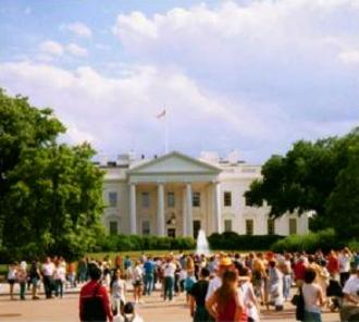 Citizens look toward the White House
